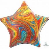 Фольгированный шар звезда, Мрамор Colorful  46 см