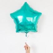 Фольгированный шар звезда, цвет бирюзовый 46 см