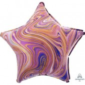 Фольгированный шар звезда, Мрамор Purple 46 см