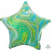 Фольгированный шар звезда, Мрамор Blue Green 46 см