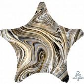 Фольгированный шар звезда,  Мрамор Black 46 см